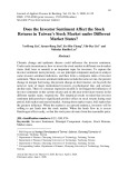 Does the investor sentiment affect the stock returns in Taiwan's stock market under different market states