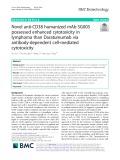 Novel anti-CD38 humanized mAb SG003 possessed enhanced cytotoxicity in lymphoma than Daratumumab via antibody-dependent cell-mediated cytotoxicity