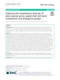 Exploring the metabolomic diversity of plant species across spatial (leaf and stem) components and phylogenic groups