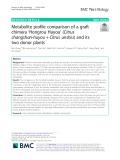 Metabolite profile comparison of a graft chimera 'Hongrou Huyou' (Citrus changshan-huyou + Citrus unshiu) and its two donor plants