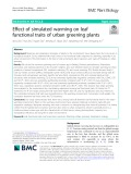 Effect of simulated warming on leaf functional traits of urban greening plants