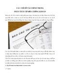 Các chỉ số tài chính trong phân tích cơ bản chứng khoán