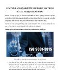 Quy trình áp dụng bộ tiêu chuẩn ISO 9001 trong doanh nghiệp chuẩn nhất