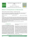 Efficient use of energy resources on Malaysian farms
