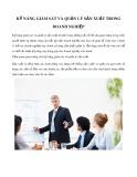 Kỹ năng giám sát và quản lý sản xuất trong doanh nghiệp