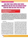 Giải pháp tăng cường hoạt động marketing nội bộ của các doanh nghiệp dịch vụ trên địa bàn tỉnh Phú Thọ