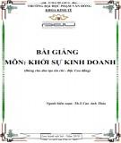 Bài giảng Khởi sự kinh doanh: Phần 2 - ĐH Phạm Văn Đồng