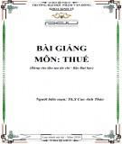 Bài giảng Thuế: Phần 2 - ĐH Phạm Văn Đồng