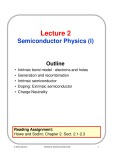 Lecture Microelectronic devices and circuits - Lecture 2: Semiconductor Physics (I)