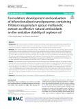Formulation, development and evaluation of bifunctionalized nanoliposomes containing Trifolium resupinatum sprout methanolic extract: As effective natural antioxidants on the oxidative stability of soybean oil