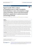Rapid micellar HPLC analysis of loratadine and its major metabolite desloratadine in nano-concentration range using monolithic column and fluorimetric detection: Application to pharmaceuticals and biological fluids
