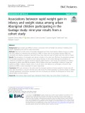 Associations between rapid weight gain in infancy and weight status among urban Aboriginal children participating in the Gudaga study: Nine-year results from a cohort study