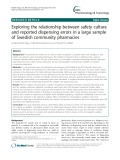 Exploring the relationship between safety culture and reported dispensing errors in a large sample of Swedish community pharmacies