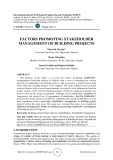 Factors promoting stakeholder management of building projects