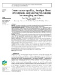 Governance quality, foreign direct investment, and entrepreneurship in emerging markets
