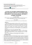 A study on women empowerment in the participation of activities with reference to Y.S.R (Kadapa) District, Andhra Pradesh