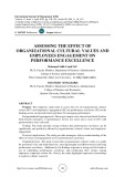 Assessing the effect of organizational cultural values and employees engagement on performance excellence
