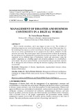 Management of disaster and business continuity in a digital world