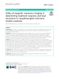 Utility of magnetic resonance imaging in determining treatment response and local recurrence in nasopharyngeal carcinoma treated curatively