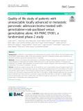 Quality of life study of patients with unresectable locally advanced or metastatic pancreatic adenocarcinoma treated with gemcitabine+nab-paclitaxel versus gemcitabine alone: AX-PANC-SY001, a randomized phase-2 study