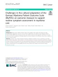Challenges in the cultural adaptation of the German Myeloma Patient Outcome Scale (MyPOS): An outcome measure to support routine symptom assessment in myeloma care