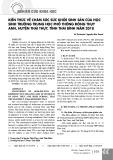 Kiến thức về chăm sóc sức khỏe sinh sản của học sinh trường trung học phổ thông Đông Thụy Anh, huyện Thái Thụy, tỉnh Thái Bình năm 2018