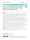 Overall survival of patients with recurrent pancreatic cancer treated with systemic therapy: A retrospective study