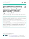 Investigating the potential clinical benefit of Selumetinib in resensitising advanced iodine refractory differentiated thyroid cancer to radioiodine therapy (SEL-IMETRY): Protocol for a multicentre UK single arm phase II trial
