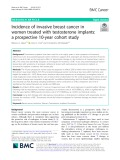 Incidence of invasive breast cancer in women treated with testosterone implants: A prospective 10-year cohort study