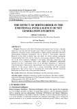 The effect of birth order in the emotional intelligence of net generation students