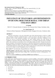 Influence of television advertisements on buying behaviour rural and urban college girls