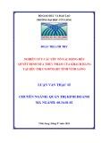 Luận văn thạc sĩ Quản trị kinh doanh: Nghiên cứu các yếu tố tác động đến quyết định mua thực phẩm của khách hàng tại siêu thị Co.opMart tỉnh Vĩnh Long