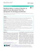 Breaking silence: A survey of barriers to goals of care discussions from the perspective of oncology practitioners