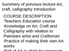 Lecture Art, craft and calligraphy - Lecture 2