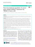 Post-transcriptional regulation of cancer/ testis antigen MAGEC2 expression by TRIM28 in tumor cells