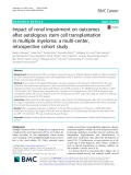 Impact of renal impairment on outcomes after autologous stem cell transplantation in multiple myeloma: A multi-center, retrospective cohort study