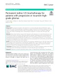 Permanent iodine-125 brachytherapy for patients with progressive or recurrent highgrade gliomas