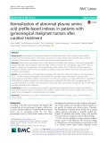 Normalization of abnormal plasma amino acid profile-based indexes in patients with gynecological malignant tumors after curative treatment