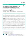 Human mesenchymal stem cells in the tumour microenvironment promote ovarian cancer progression: The role of platelet-activating factor