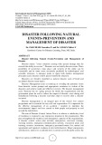 Disaster following natural events-prevention and management of disaster