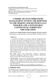 A model of lean operations management system: the response to the missing link between lean toolbox and a sustainable continuously improving organization