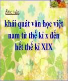 Bài giảng Ngữ văn 10 - Đọc văn: Khái quát văn học Việt Nam từ thế kỉ X đến hết thế kỉ XIX