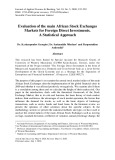 Evaluation of the main african stock exchanges markets for foreign direct investments. A statistical approach