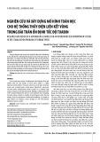 Nghiên cứu và xây dựng mô hình toán học cho hệ thống thủy điện liên kết vùng trong bài toán ổn định tốc độ tuabin