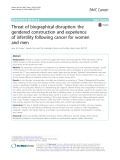 Threat of biographical disruption: The gendered construction and experience of infertility following cancer for women and men