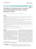 Perceptions of colorectal cancer screening and recommendation behaviors among physicians in Korea