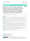 Alterations in NO- and PGI2- dependent function in aorta in the orthotopic murine model of metastatic 4T1 breast cancer: Relationship with pulmonary endothelial dysfunction and systemic inflammation