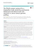 The PiGeOn project: protocol for a longitudinal study examining psychosocial, behavioural and ethical issues and outcomes in cancer tumour genomic profiling