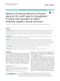 Influence of presence/absence of thyroid gland on the cutoff value for thyroglobulin in lymph-node aspiration to detect metastatic papillary thyroid carcinoma