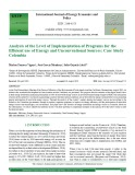 Analysis of the level of implementation of programs for the efficient use of energy and unconventional sources: Case study Colombia